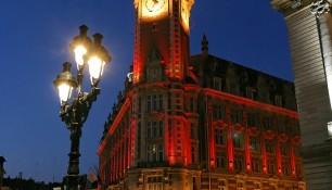 Beffroi de Lille, à la nuit tombante